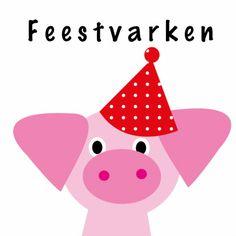 Stuur deze vrolijke kaart naar het jarige feestvarken. Je kunt deze kaart sturen naar jarigen van alle leeftijden.