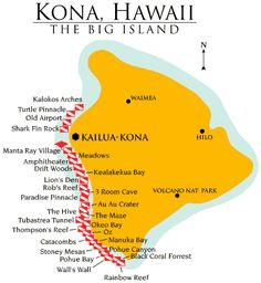 Kona Big Island Hawaii Map | Kona DiveMap