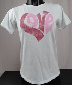 NWT Life Is Good Womens XS Love Heart Crusher T-Shirt Cloud White SS Pink Design #LifeIsGood #GraphicTee