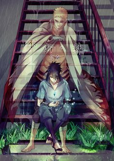 I don't know what it says but all I know is that this is amazing because Sasuke is just sitting in the rain and future Naruto is trying to cover him up
