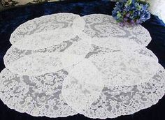 Gorgeous Antique Alencon White Lace Placemats Tray Cloths France | eBay Vintageblessings