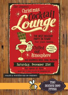 """Retro Holiday Party Invitation  """"Christmas Cocktail Lounge"""" by TheHoneyBeePress"""