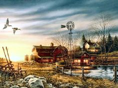 Painter Terry Redlin - Would love to have a red kitchen with barn art for every season on the wall ...