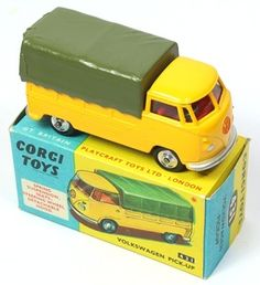 Corgi Toys VW yellow Pick up with Green Plastic tilt. Rare colour combination