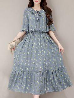 Blue Half Sleeve Floral Lace Up Midi Dress - Mode Frauen Stylish Dresses, Simple Dresses, Dresses For Sale, Cute Dresses, Casual Dresses, Midi Dresses, Floral Dresses, Short Dresses, Hijab Mode