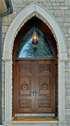 Beautiful mahogany church door. - Created by Borano
