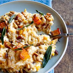 Baked risotto with butternut, pine nuts and sage.
