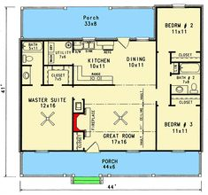 Plan Starter Home With Two Covered Porches Little House Plans, Small House Floor Plans, Cottage Style House Plans, Cabin House Plans, French Country House Plans, Southern House Plans, Cottage House Plans, Best House Plans, Dream House Plans