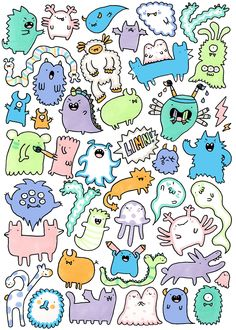 """Doodle monsters for """"Limn"""" Illustration Exhibition in Düsseldorf this August ^-^"""