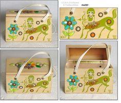 78cc114577bf Enid Collins Zodiac Sagittarius wood box bag purse in green print with  multi colored gem trims.