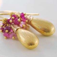 Genuine Ruby Earrings Precious Pink Red Gemstone Gold Vermeil Teardrops Wire Wrapped Jewelry July Birthstone Complimentary Shipping. $75.00, via Etsy.