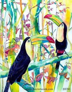 """Toucan Pair"" Original Hand Painting by Jen Callahan"