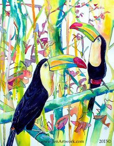 """Toucan Pair"" Original Hand Painting by Jen Callahan"
