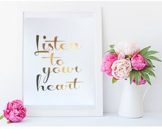 Real Gold Foil Print  Listen to your heart  8X10 by MoonOrchids