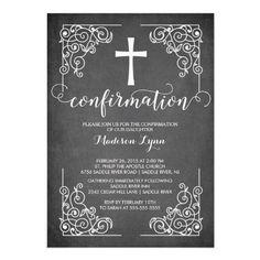 Modern Black Frame Cross Confirmation Invitation