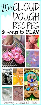 20 different Cloud Dough Recipes & ways to PLAY - cloud dough is so fun the kids will want to try them all!