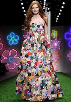 Jasper Conran, patchwork dress, 2012 London Fashion Week. Posted at Tea and Sympathy NY