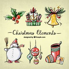 watercolor christmas elements set Free Vector