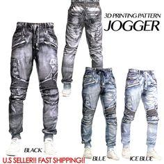 3D DENIM JEAN JOGGER Men Elastic Waist Drop Crotch Twill Trousers Sweat Pants #8THDSTRKT #3DPRINTINGJOGGER Biker Jeans, Jeans Pants, Denim Jeans, Trousers, Jean Joggers Men, Jogger Pants, Drop Crotch Joggers, Men's Bottoms, Pattern Fashion