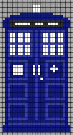 Alpha Pattern #8996 Tardis (kind of wide, could be knitting or perler bead pattern as well):