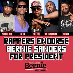 Scarface, Lil B, Big Boi, Killer Mike, & Bun B endorse Bernie Sanders for President 2016!