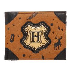 7744943b544 Harry Potter HOGWARTS Bifold Wallet Faux Leather Icons Stag Spells Wizardry  NEW  Bioworld  Bifold
