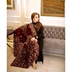 Designer carries this velvet shawl from her own collection perfectly 😍 Hand embellished with Swarovskis and dabkas, we're in… Pakistani style, black suit with velvet shawl Asian Wedding Dress Pakistani, Pakistani Fashion Party Wear, Pakistani Dresses Casual, Pakistani Dress Design, Indian Fashion, Punjabi Fashion, Abaya Fashion, Fashion Pants, Fashion Dresses