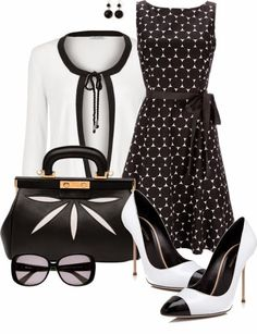 ❤❤❤ With classic black and white spectator pumps (with a lower heel). Needs a pop of hot pink, too (or red). [Google+]