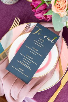 Dark calligraphy wedding setting with foil script menu plan by Betty Lou Design. Wedding Calligraphy, Menu Planning, Script, Floral Design, Stationery, Romantic, How To Plan, Bridal, Dark