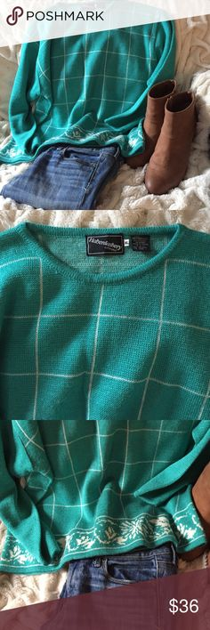 Vintage Haberdashery is Personal W XL Urban Outfit Classic!!! Old school Haberdashery XL turquoise sweater!!  Amazing condition and such a gorgeous turquoise color.  White checkered front and back!  Grab this now, while you can!! Urban Outfitters Sweaters Crew & Scoop Necks