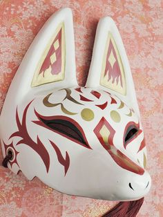 "New Japanese fox half mask motif "" Sun "" Hand made Antique F/S Character Creation, Character Design, Kitsune Maske, Japanese Fox Mask, Mask Drawing, Half Mask, Cool Masks, Japan Art, Diy Mask"