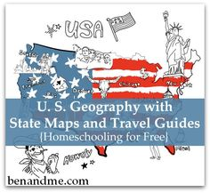 Homeschooling for Free — U. S. Geography with State Maps and Travel Guides #homeschool #FreeHS #geography
