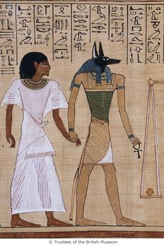 Anubis guiding deceased to scales of deeds? Egyptian Drawings, Egyptian Kings, Ancient Egyptian Artifacts, Kemet Egypt, Egypt Culture, Amenhotep Iii, Egypt Art, Egyptian Mythology, Ancient Mysteries