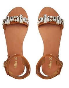 Miss KG Debbie Leather Jeweled Flat Sandals - On Sale