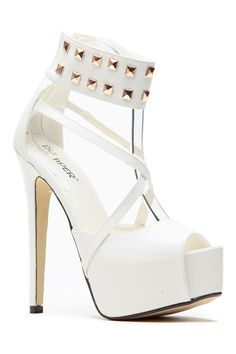Bumper White Studded Sky High Platform Heels @ Cicihot Heel Shoes online store sales:Stiletto Heel Shoes,High Heel Pumps,Womens High Heel Shoes,Prom Shoes,Summer Shoes,Spring Shoes,Spool Heel,Womens Dress Shoes