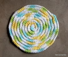 Swirls and Sprinkles: Free round crochet dishcloth/washcloth pattern.