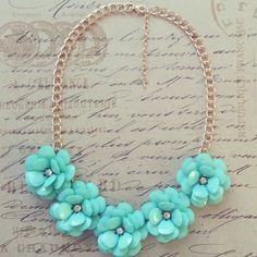 Mint Rose Beaded Necklace J Crew Inspired Rose by VivaLaJewel, $25.00