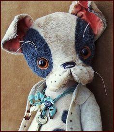by Alla Bears original Lg artist ooak Vintage Puppy dog collectible Antique hand made toy art doll gift pet Art D'ours, Art Jouet, Bear Doll, Bear Art, Plush Animals, Stuffed Animals, Animal Decor, Old Antiques, Fabric Art