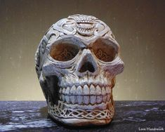 This is an intricately detailed cement Celtic skull. I have rubbed it with a dark wax to give it a more freshly unearthed look. Some will look more decayed than others, especially at the base. Cement, Concrete, Chalk Paint Projects, Dark Wax, Celebration Quotes, Milk Paint, Blog Design, Art Education, Fused Glass