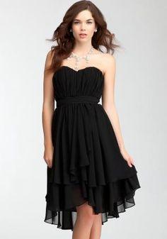 Pleated Strapless Layer Skirt Black Dress