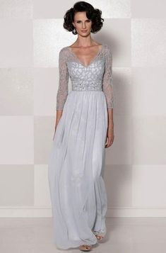 Chiffon V-Neck 3/4 Sleeve Long Slim Lace Mother Of The Bride Dress with A Drape