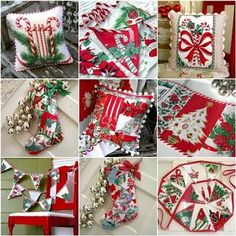 From vintage Christmas linens.