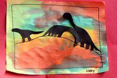 Dinosaur silhouette paintings...dino unit