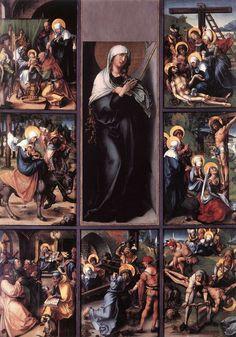 Albrecht Dürer: die sieben Schmerzen Mariä, um 1496, in der Alten Pinakothek in München und in der Gemäldegalerie in Dresden