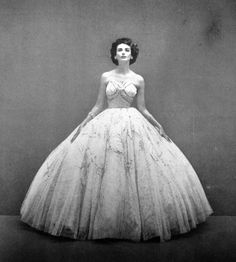 Model wearing a ballgown for Vogue US, 1951.
