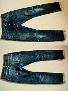 Natural fade in the jeans. Nudie Jeans, Jeans Pants, Men Shorts, Khaki Pants, Indigo, Raw Denim, Men's Denim, Denim Fashion, Fashion Men