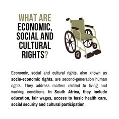 Definition of Economic, Social and Cultural Rights   There are three generations of human rights. The first is known as civil and political rights. Socio-economic rights are second-generation human rights. They address matters related to living and working conditions. In South Africa, they include education, fair wages, access to basic health care, social security and cultural participation · Grade 12 Business Studies with Nonjabulo Tshabalala, Qualified South African Business Studies… Exam Papers, Business Studies, Information Graphics, Social Security, Human Rights, Better Life, Definitions, South Africa