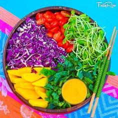 FullyRaw - May the simple things in life bring you joy! Tonight's FullyRaw dinner: Dino kale topped with purple cabbage, mango, cherry tomatoes, and sprouts with an orange bell pepper tahini dressing! - Kristina Carrillo-Bucaram Rawfully Organic Co-op www.instagram.com/fullyrawkristina