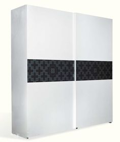 The White and Black Crocodile Texture Sliding Wardrobe is spacious and stylish.