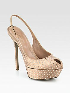 284f39ae48709 Sergio Rossi - Satin Swarovski Crystal-Coated Platform Slingback Pumps Shoe  Closet